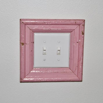 Pink New Orleans Reclaimed Wood Frame; Light Switch Frame by restorationharbor