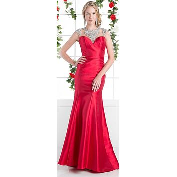 Cinderella Divine CJ221 Red Cut Out Back Beaded Collar Satin Sheath Prom Gown