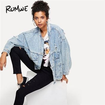 Trendy ROMWE Bleach Wash Ripped Denim Jacket Blue Spring Women Casual Clothing Female 2018 Autumn Fashion Long Sleeve Oversized Coat AT_94_13