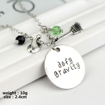 """Wicked the Musical inspired necklace """"defy gravity"""" Hand carved Letter Necklace Elphaba Glinda Crystals Charms Necklace Women"""