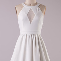 Diamond Cut Dress-  White