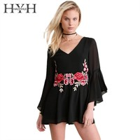 HYH HAOYIHUI Black Floral Print Women Playsuits Embroidery V-Neck Long Sleeve Ruffle Vintage Rompers Sexy Sheer Playsuits