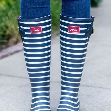 Rain Boots - French Navy Striped