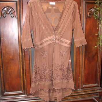 Vintage Lace Duster Jacket Sheer Brown Nataya Age of Love
