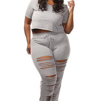 Gray Plus Size Crop Top Distressed Pants Set