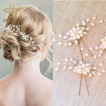 TREAZY 2pcs Elegant Bridal Wedding Crystal Pearl Flower Hair Pins Charm Handmade Bridesmaid Bridal Veil Jewelry Hair Accessories