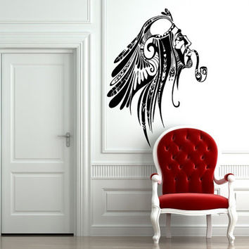Wall Decor Art Vinyl Sticker Room Decal Awesome Native American Indian Smocking 571
