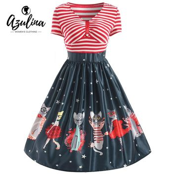 Women's Vintage Cartoon Cat Striped Star Print V Neck Party Dress S-XXL
