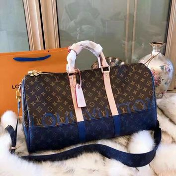 LV Louis Vuitton 2018 Limited Blue Brown Colorblock Keepall Travel Bag