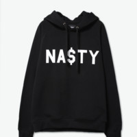 Black Letters Printed Fleece Sweater B0014265