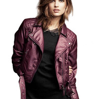 Purple Leather Jacket with Belt