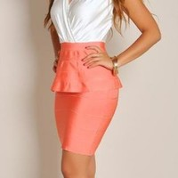 In My City White & Coral Peplum Dress
