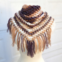 Autumn Fashion, Brown Triangle Shawl, Crochet Shawl, Gift For Grandmother, gift For Mother, Unique Chrsitmas Gift, Wool, Multicolor, Trend