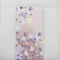 Cherry blossom sakura delft blue white boho iPhone 6 6S case chinoiserie floral