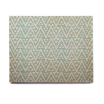 "Amanda Lane ""Geo Tribal Turquoise Sky"" Teal Aztec Birchwood Wall Art"