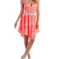 Plunging Strapless Geo Print Skater Dress