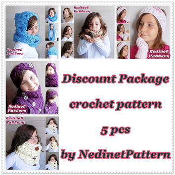 CROCHET PATTERN, Discount crochet pattern, crochet hat pattern, crochet cowl pattern, crochet scarf pattern, Pdf Pattern, child to adult