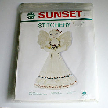 Sunset Stitchery Victoria Tree Top or Table Decor  Kit 2190 Angel  Vintage 1983 Craft Christmas Holiday