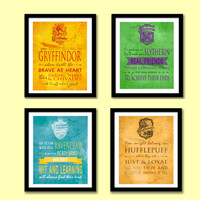 Harry Potter Hogwarts Houses Art Prints Set of 4, Instant Download, Gryffindor, Ravenclaw, Hufflepuff, Slytherin Art Posters