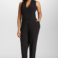 Plus Size Women's Mynt 1792 Double Breasted Sleeveless Tuxedo Jumpsuit