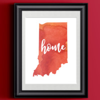 Indiana Home Watercolor Print   State Home Poster   Wall Decor