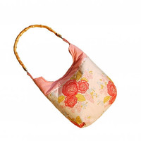 Marguerite patterned bag with bamboo strap/ Flowers tote bag/ Perfect gift for her