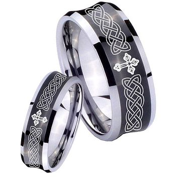 His Her Black Concave Celtic Cross Two Tone Tungsten Wedding Rings Set