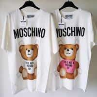 MOSCHINO Bear Print Short Sleeve Top