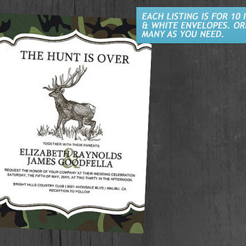 Camo The Hunt is Over Wedding Invitations | Invites | Invitation Cards