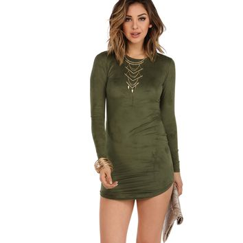 Olive Bye Girl Suede Dress