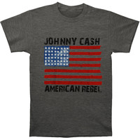 Johnny Cash Men's  American Rebel Flag T-shirt Heather Rockabilia