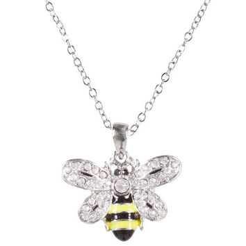 DCCKU3R Bee Body With Gem Wings Pendant Necklace