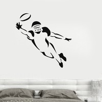 Wall Decal American Football Player Sports Fan Kids Room Decor Vinyl Stickers Unique Gift (ig017)