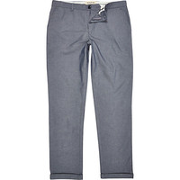 River Island MensBlue chambray skinny stretch pants