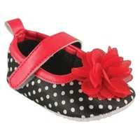 Luvable Friends™ Infant Girls' Dot Mary Jane Shoe - Black/Red