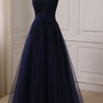 Navy A-line Prom Dresses Cap Sleeve Scoop Neck Floor Length Tulle Evening Party Gowns Lace-up Back