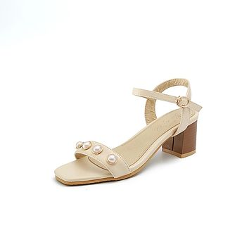 Pearls Mid Heel Sandals Summer Shoes 1816