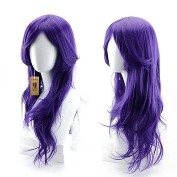"YOPO 28"" Wig Halloween Long Big Wavy Hair Women Cosplay Party Costume Wig(Purple)"