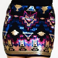 Midnight Aztec Sequin Skirt - $68