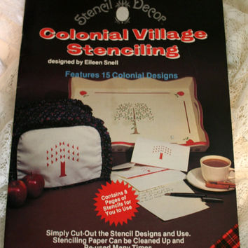 Colonial Village Stenciling Book Stencil Decor UNCUT Stencil Book Decorative Stencils For the Home Upcycle Supplies Vintage 1982 #7657 Plaid