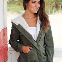 Olive Jacket with Wool Lined Hood