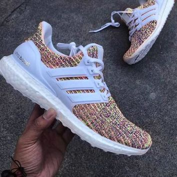 Adidas Ultra Boost Women MEN Running Breathable Sneakers Shoes White/Rainbow