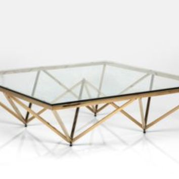 Art Deco Brass Square Glass Coffee Table