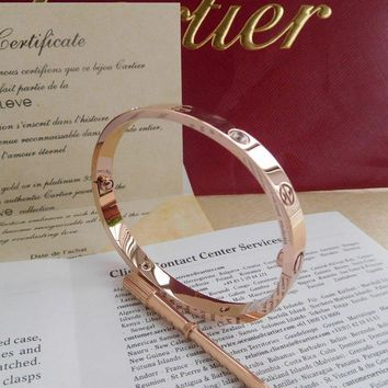 One-nice? HOT New@ Authentic CARTIER Love 18k Rose Gold/4 Diamonds Bracelet Size 19!@@