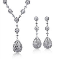 Bridal Jewelry Set Micro Pave Setting AAA Cubic Zirconia High Quality Platinum Plated & 18KGP Lead Free Nickel Free