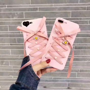 Fashion Cute Pink  Moon Bow soft Silicone Cover Case for iphone x 7 7Plus 6 6s 8 8 Plus stylish chic girl women case