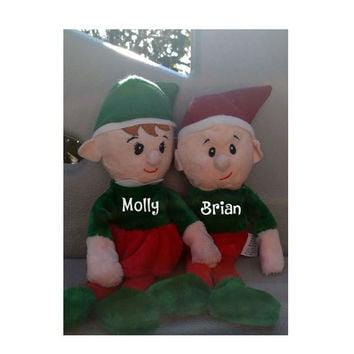 Personalized Elf Plush ~ Small Stocking Stuffer for girl, boy, coworker ~ Any name in white or gold