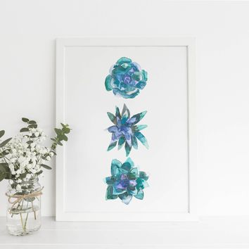 Watercolor Succulent Green Plant Trio Art Print