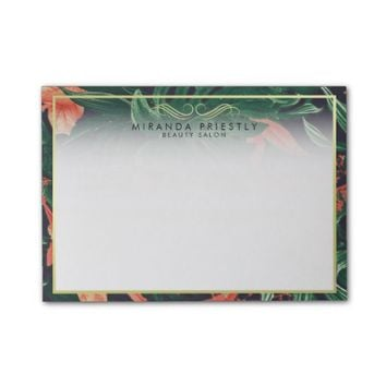 Elegant Tropical Floral Gold Frame Makeup Salon Post-it® Notes