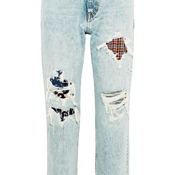 Golden Goose Deluxe Brand - Komo distressed patchwork high-rise straight-leg jeans